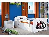 CARELLIA LIT Enfant 80 CM X 180 CM Moto avec Barriere DE SECURITE+ SOMMIER+Matelas Offert ! - Blanc