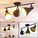 Deckenleuchte Koppom, Deckenlampe aus Metall in Schwarz/Gold, 3-flammig, mit verstellbaren...