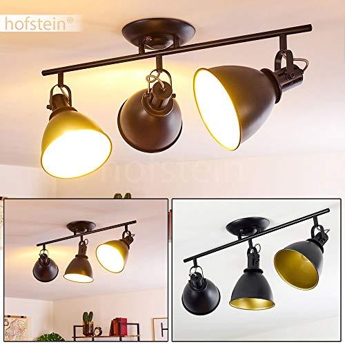 Deckenleuchte Koppom, Deckenlampe aus Metall in Schwarz/Gold, 3-flammig, mit verstellbaren Strahlern, 3 x E14-Fassung max. 40 Watt, Spot im Retro/Vintage Design, für LED Leuchtmittel geeignet