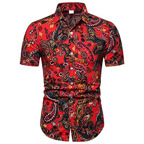 Camisa Floral de Manga Corta Ajustada para Hombre Verano Moda Fina Costura Estampada Suave y cómoda Camiseta básica Informal M