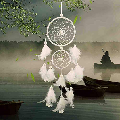 JYHW Dreamcather White Zwei-Ring-Traumfalle Dekoration Dekoration Hochzeit Dekoration Feder Handwerk Fechten Anhänger Geschenk