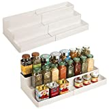 mDesign Plastic Adjustable, Expandable Kitchen Cabinet, Pantry, Shelf Organizer/Spice Rack with 3 Tiered Levels of Storage for Spice Bottles, Jars, Seasonings, Baking Supplies, 2 Pack - Cream/Beige