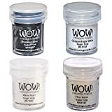 Wow! Embossing Powder Super Fine Black and White Bundle: Primary Ebony, Opaque Bright White, White Pearl, Clear Gloss, 15ml