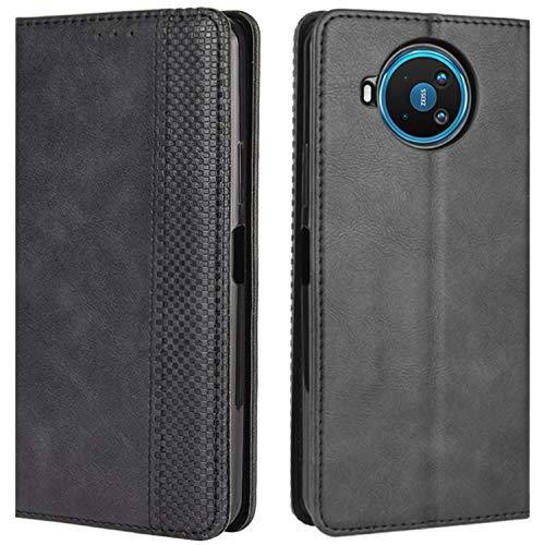 HualuBro Handyhülle für Nokia 8.3 Hülle, Retro Leder Stoßfest Klapphülle Schutzhülle Handytasche LederHülle Flip Hülle Cover für Nokia 8.3 5G Tasche, Schwarz