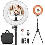 Ring Light Anneau Lumineux FOSITAN 36cm Extérieur 42W 5500K 180 LED Dimmable vidéo éclairage, 2M Réglable Light Stand, Bluetooth récepteur pour la Prise de Vue vidéo Self-Portrait
