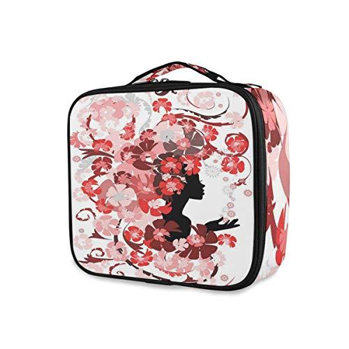 SUGARHE Blumenmädchen Haar Lange wirbelnde rosa Blüten Kommoden Schönheit weiblich,Kosmetik Reise Kulturbeutel Täschchen mit Reißverschluss