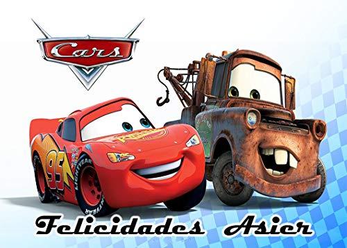 OBLEA de Cars Personalizada con Nombre y Edad para Pastel o Tarta, Especial para cumpleaños, Medida Rectangular de 28x20cm