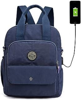 WEILLCCE Bolsos mochila para mujer y hombre USB carga multifuncional Computadora bandolera