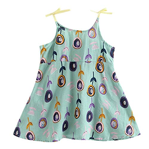QPM - Vestido para niña con estampado de limón para fiesta de verano sin mangas con correa de princesa