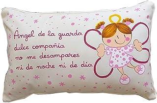 Cojín ángel de la guarda personalizado de bebe rosa