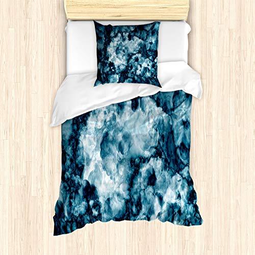 ABAKUHAUS Marmor Bettbezug Set für Einzelbetten, Marmor Stein Effekt, Milbensicher Allergiker geeignet mit Kissenbezug, Blau