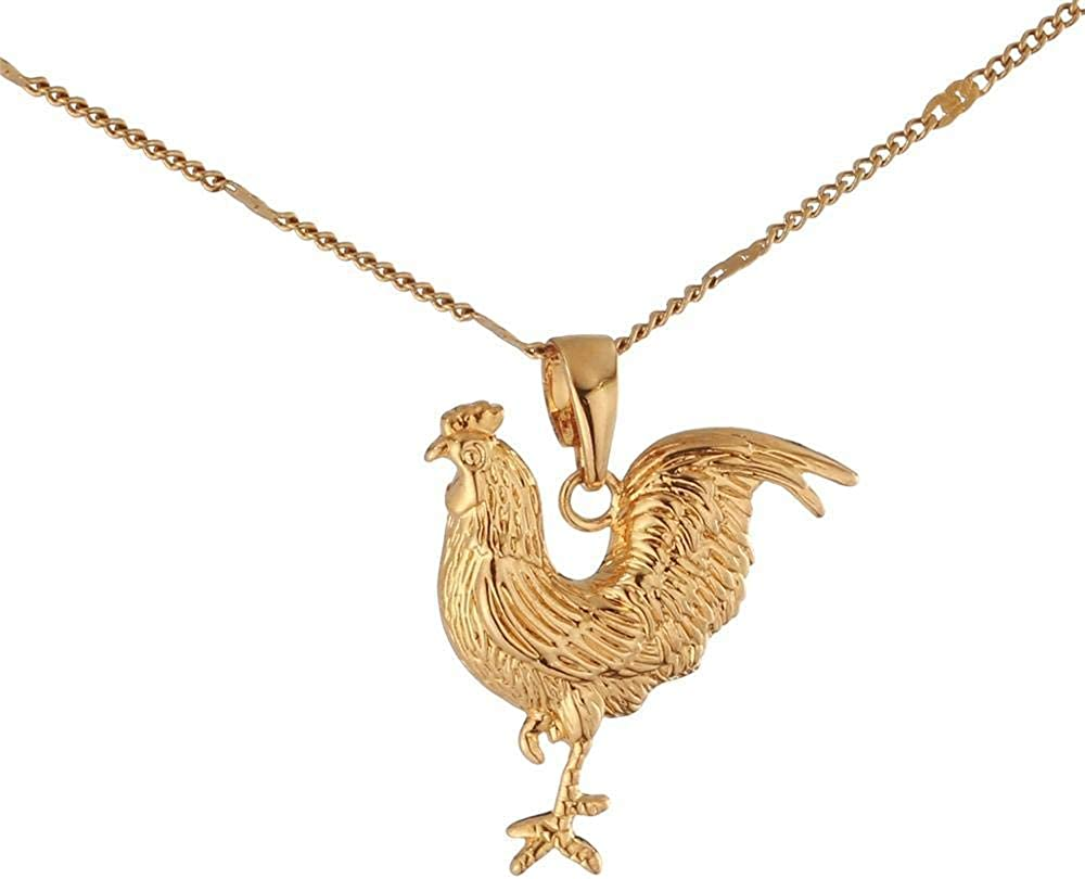 Fashionable Women Jewelry Gold Color Animal Rooster Chicken Pendant Necklace Jewelry 50cm