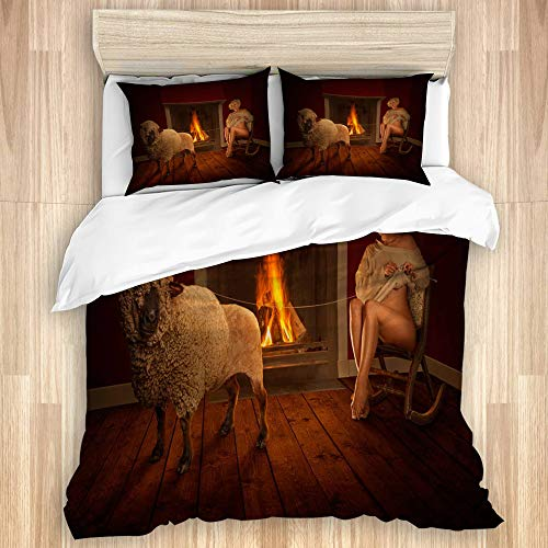 SINOVAL Duvet Cover Set,Girl in a Rocking Chair by The Fireplace Knits a Sweater on Herself loosening Wool from a Sheep,Microfiber 3 Piece King Bedding Set with 2 Pillowcases-104 x88