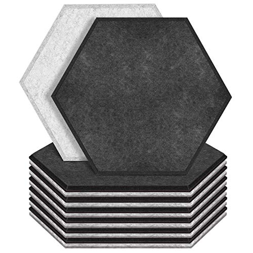 """ZHERMAO 12 Pack Hexagon Acoustic Panels Beveled Edge Sound Proof Foam Panels, 14""""X13""""X 0.4"""" High Density Sound Proofing Padding for Wall, Acoustic Treatment for Studio, Home and Office (Grey Sesame)"""