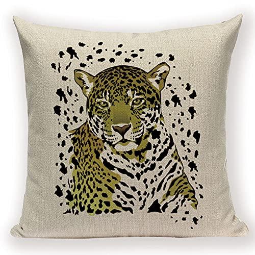 Funda Cojine sofá Decorar Funda Almohada Linda funda de cojín de tigre León leopardo decoración del hogar fundas de almohada de lino Animal funda de almohada para sofá fundas de cojines decorativos