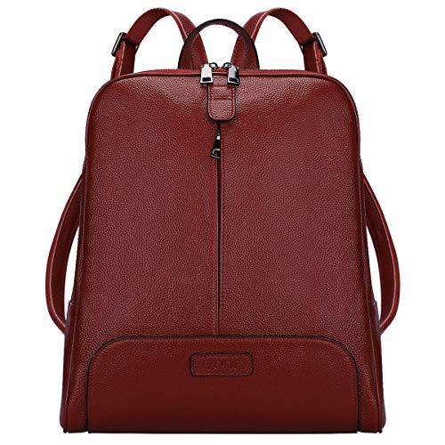 S-ZONE Damen Rucksack Echtes Leder 14 Inch Laptoptasche Casual Mode Elegant Daypack Schultertasche Stadtrucksack Reisetasche Tagesrucksack Schulranzen Schultaschen Schulrucksäcke