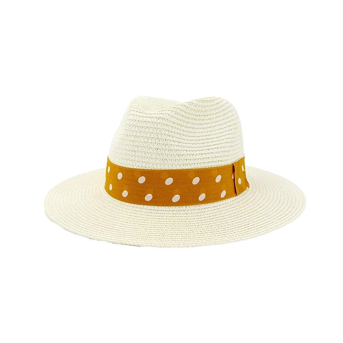 相手バン振りかけるMUJUN 2019 ファッション パナマ帽子男性わらFedora Sunhat女性夏のビーチサンバイザーキャップクールジャズキャップ (色 : クリーム, サイズ : 56-58CM)