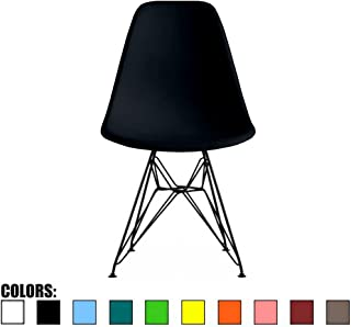 2xhome Black - Fabric Side Chair Black Eiffel Base Dining Room Chair - Lounge Chair No Arm Arms Armless Less Chairs Seats Black Wire Legs
