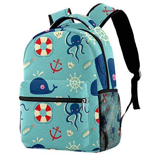 Octopus Whales Compass Lifebelt Backpack School College Bag Bookbag Hiking Travel Rucksack for Women Men