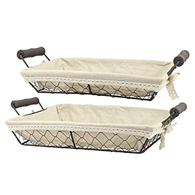 Stonebriar 2pc Rectangle Metal Serving Basket Set with Decorative Fabric Lining, Rustic Serving Trays for Parties, Centerpiece for Coffee or Dining Table, Document Organizer for Office or Kitchen