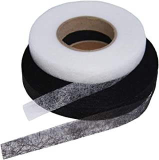 【白黒ペア】アイロンテープ 両面 接着 白黒各1本セット / 幅1.5㎝×約60メートル /白黒各1本 合計2本