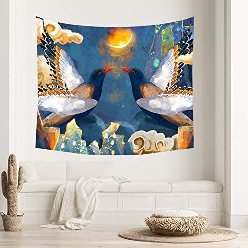WERT Tapiz Colgante de Pared decoración del hogar Estilo Chino Dormitorio Multifuncional Tela de Fondo Toalla de Playa Manta de Picnic A1 150x130cm