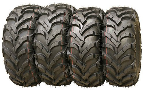 Wanda P341 ATV/UTV Tires 25x8-12 Front & 25x10-12 Rear Solid Mud, Set of 4