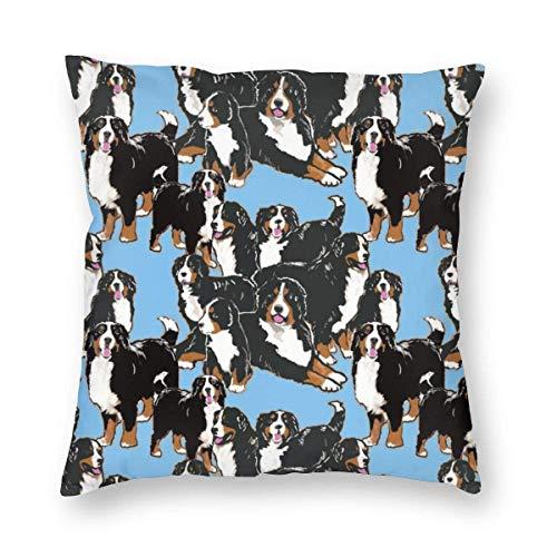 ~ Bernese Mountain Dog Home Decor Throw Pillow Cover, Lightweight Soft Plush Square Decorative Pillow Case 18x18 Inch Cushion Cover, Sham Stuffer, Machine Washable