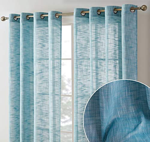HLC.ME Madison Faux Linen Textured Semi Sheer Privacy Sun Light Filtering Transparent Window Grommet Long Thick Curtains Drapery Panels for Bedroom & Living Room, 2 Panels (54 W x 96 L, Teal Blue)