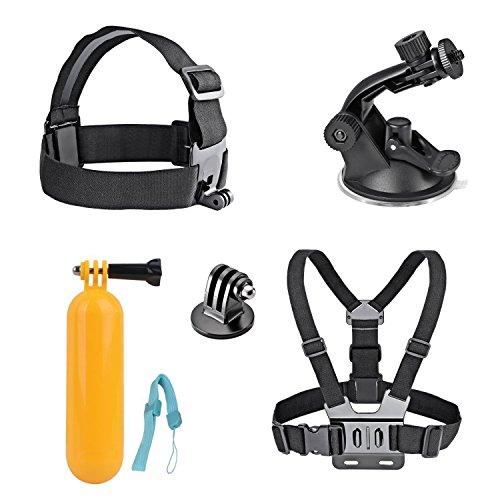 AKASO 7 in 1 Sportkamera Zubehör Bundle Kits für AKASO EK7000/EK5000 Gopro Held Sport Kamera - Kopfband Halterung+Brustgurt Halterung+Floating-Handgriff-Griff mit Gurt+Autosaugnapf (wie Foto zeigen)