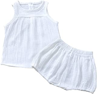 Toddler Infant Baby Girl Boy Summer Pure Color Outfits Ruffle Sleeveless Tank Top Bloomers Clothes Set