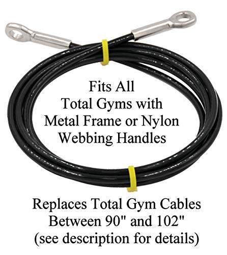 Made in USA Extremely Long Life Cable (Lasts 5-10 Times Longer Than Other Cables) ONLY Fits All Total Gyms with Metal Frame or Nylon Webb Handles. Read Product Description About Length