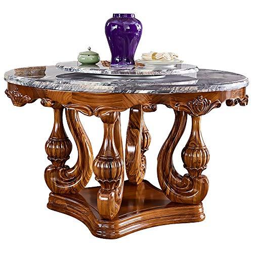 MKMKT Kombination aus Esstisch aus Ebenholz, Esstisch und Stuhl aus Naturstein Runder High-End-Esstisch Handgefertigte Massivholzschnitzerei Luxus-Ledersessel Küchenmöbel,150cm Table