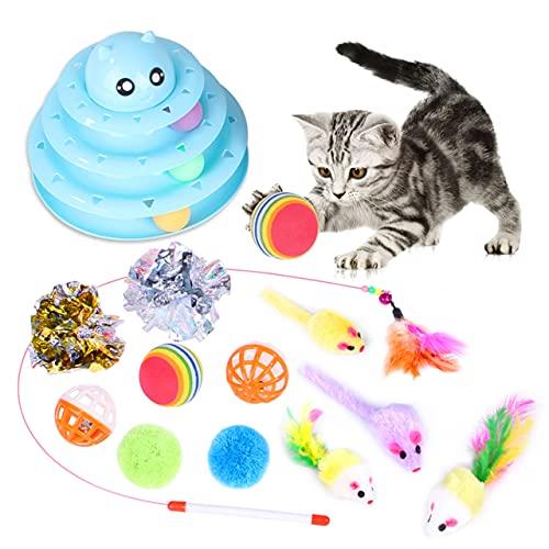 thematys Interaktives Katzenspielzeug - Federball - Knisterspielzeug Raschelspielzeug - Plüschmäuse