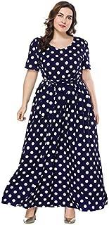 Extaum Women Plus Size Maxi Dress Polka Dot O-Neck Short Sleeve Belted Slim Swing Long Dress Dark Blue