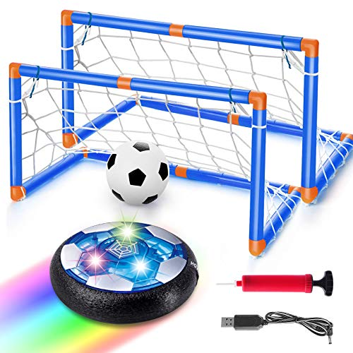 Balhvit Kids Toys, USB Rechargeable Hover Soccer Ball Set with 2 Goals, LED Lights Indoor Floating Air Soccer, Xmas Christmas Birthday Gifts for Boys Girls Toddlers Ages 3-15, Inflatable Ball Included
