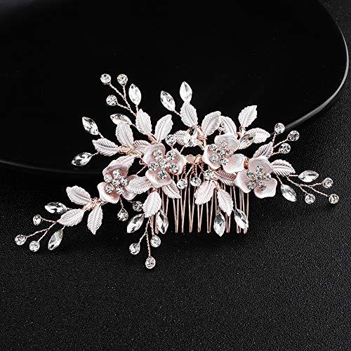 EUSIX Vintage Blatt Braut Haarkamm Strass Perlen Kristalle Hochzeit Haarspangen handgefertigt Haarschmuck für Frauen (Kamm Rose Gold)