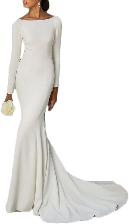 Alilith.Z Elegant Long Mermaid Wedding Dresses Bride White Formal Evening Dresses Women Sleeves