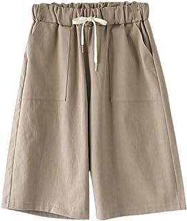 HEFASDM Women's Lounge Elastic Baggy Style 2PCS Midi Shorts Linen Shorts
