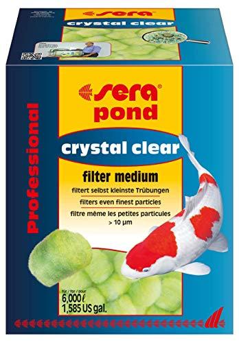 sera crystal clear Professional 350g ein Schwebealgenvernichter oder gegen grünes Wasser im Teich, Filterwatte in Ballform mehrfach auswaschbar, die 3D-Faserstruktur entfernt selbst kleinste Trübungen