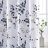 H.VERSAILTEX Blackout Curtains for Living Room Darkening Thermal Insulated Panels 84 Inch Long Light Blocking Grommet Curtains/Drapes, Bluestone and Taupe Vintage Classical Floral Printing, 2 Panels