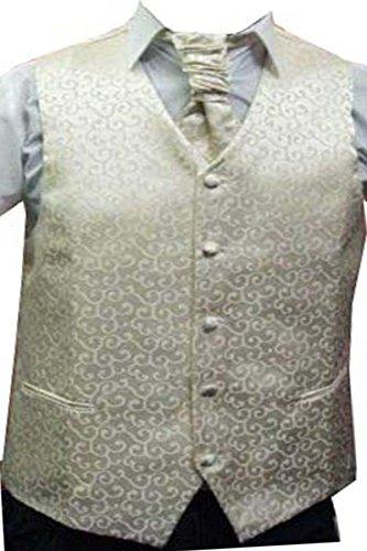"""Hommes Crème Paisley ensembles de mariage de gilet (ref:cream paisley waistcoat) (L (42""""))"""