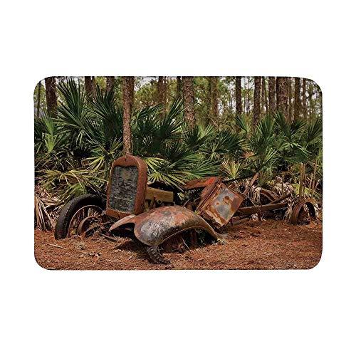 Alfombrilla antideslizante de decoración rústica para el hogar, camioneta mula de tractor oxidado en el bosque con palmeras tropicales Alfombrilla de piso para baño Sala de estar Alfombra de baño