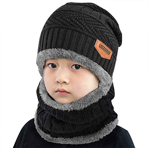 heekpek Niños Sombrero Caliente de Punto y Bufanda tubular con Forro de Lana, para Niños y Niñas Conjunto de Bufanda Gorro Niños Kids (Negro)