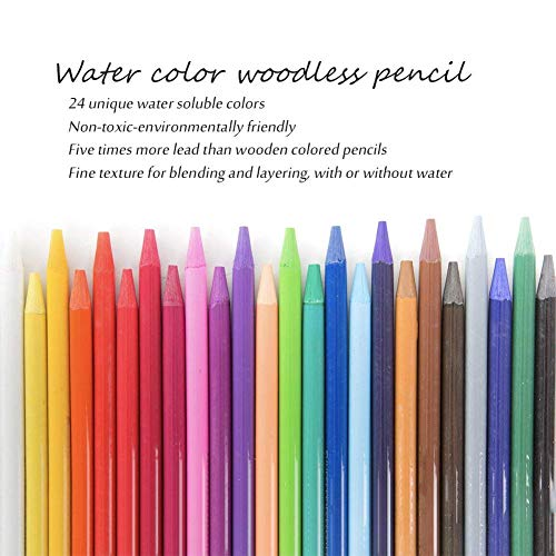 Woodless Watercolor Pencils,EVNEED 24 Colors Woodless Pencils Soft-Core - Pre-sharpened for Adults,Professionals And Art Students,Christmas Gifts for Kids(Set of 24 Colors)