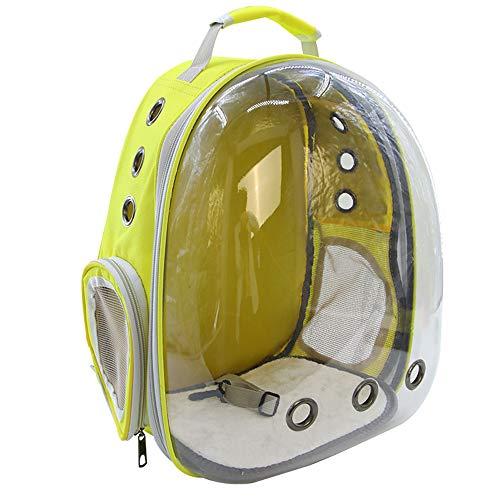 Portátil del gato del perro casero Compañías de Transporte Ventana astronauta bolsa de gato Mochila Cápsula espacial alta calidad transpirable bolsa del animal doméstico,Amarillo,30x33x40cm