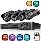 FLOUREON Sytème de Sécurité 8CH DVR AHD 1080N ONVIF + 4 Caméra de Sécurité...