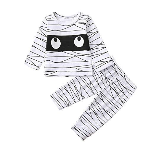 Nios pequeos, bebs, nias, nuevos Monos, Camisetas con Estampado de Rayas de Halloween, Divertidos Pantalones de Momia, Pijamas, Trajes, Lindo Disfraz de beb(5-6 aos,Blanco)