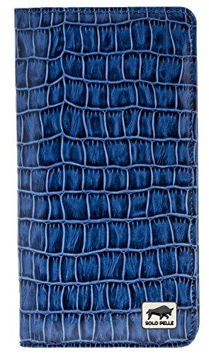 Solo Pelle Universal Wallet iPhone X I 8 Plus I 7 I 8 tas of apparaten tot 5,5 inch reistas I portemonnee van echt leer, Krokodil reliëf blauw (blauw) - 8693061310335