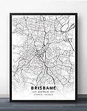 QYQMYK Leinwand Bilder,Australien Brisbane Stadt Karte Wand